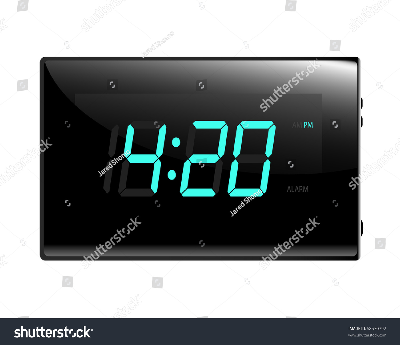 Modern Digital Alarm Clock Illustration Raster Stock