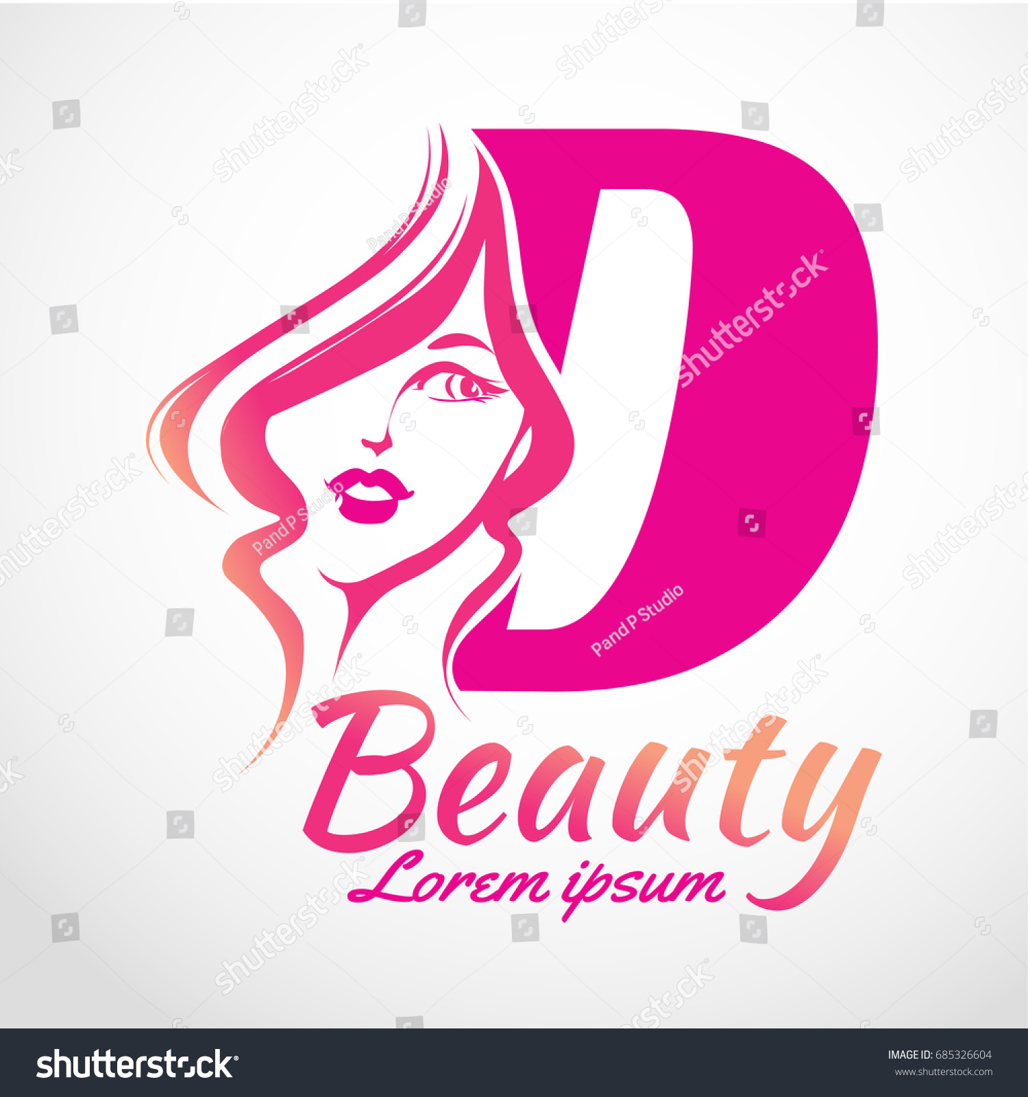 Abstract Letter D Logo Beauty Salon Stock Vector (Royalty Free ...