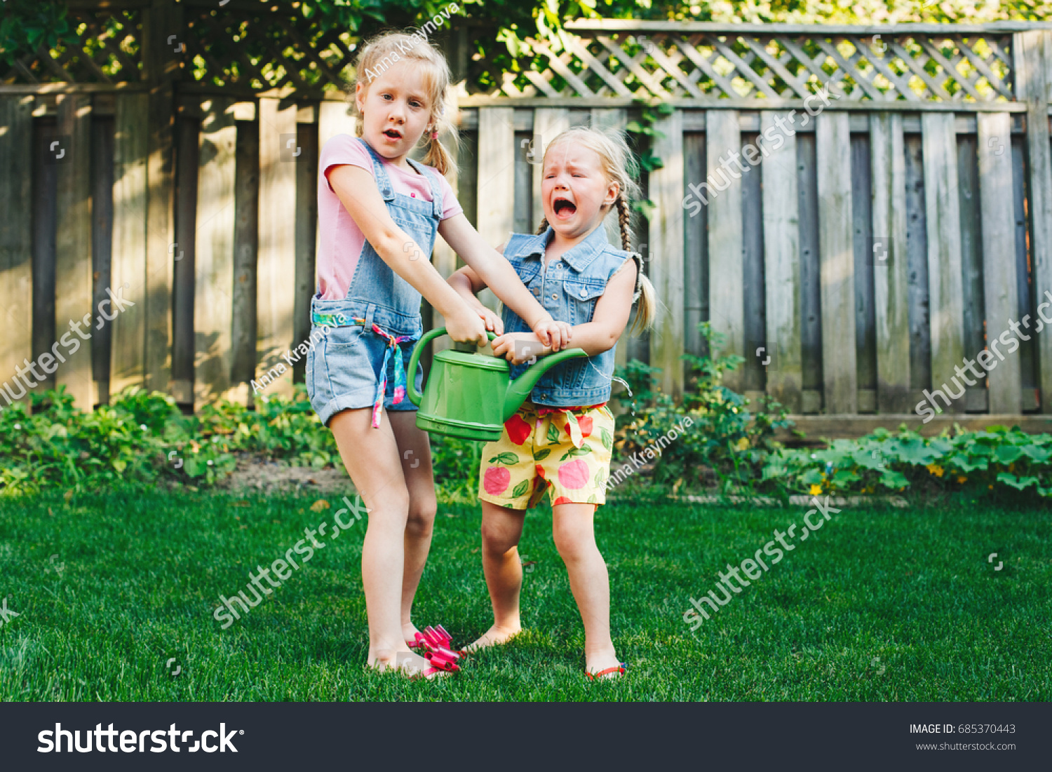portrait two little girls sisters having stock photo 685370443