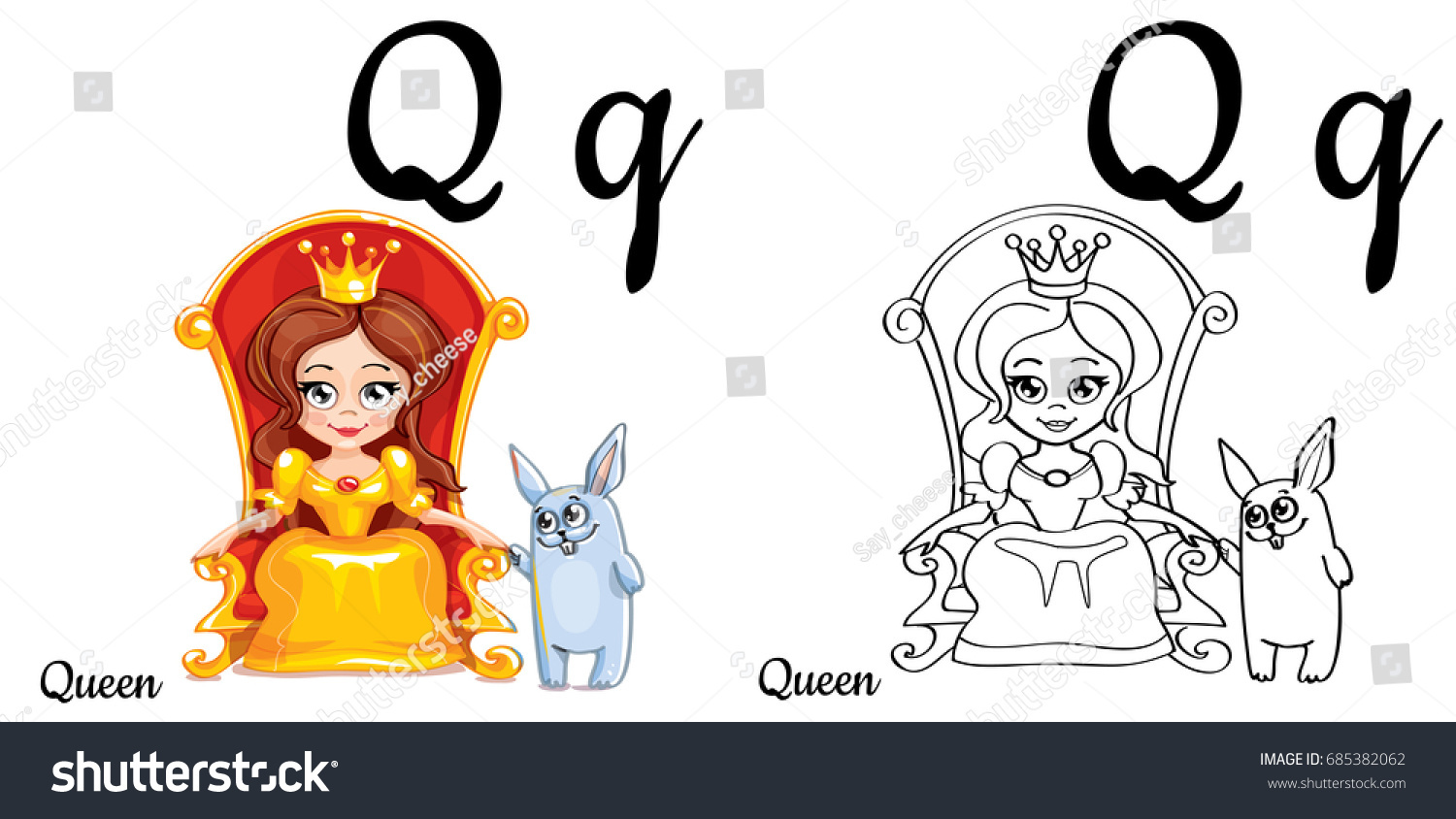 queen vector alphabet letter q coloring stock vector 685382062