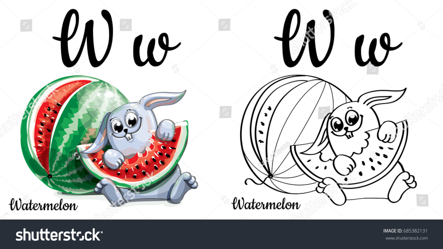 watermelon alphabet letter w coloring page stock vector 685382131