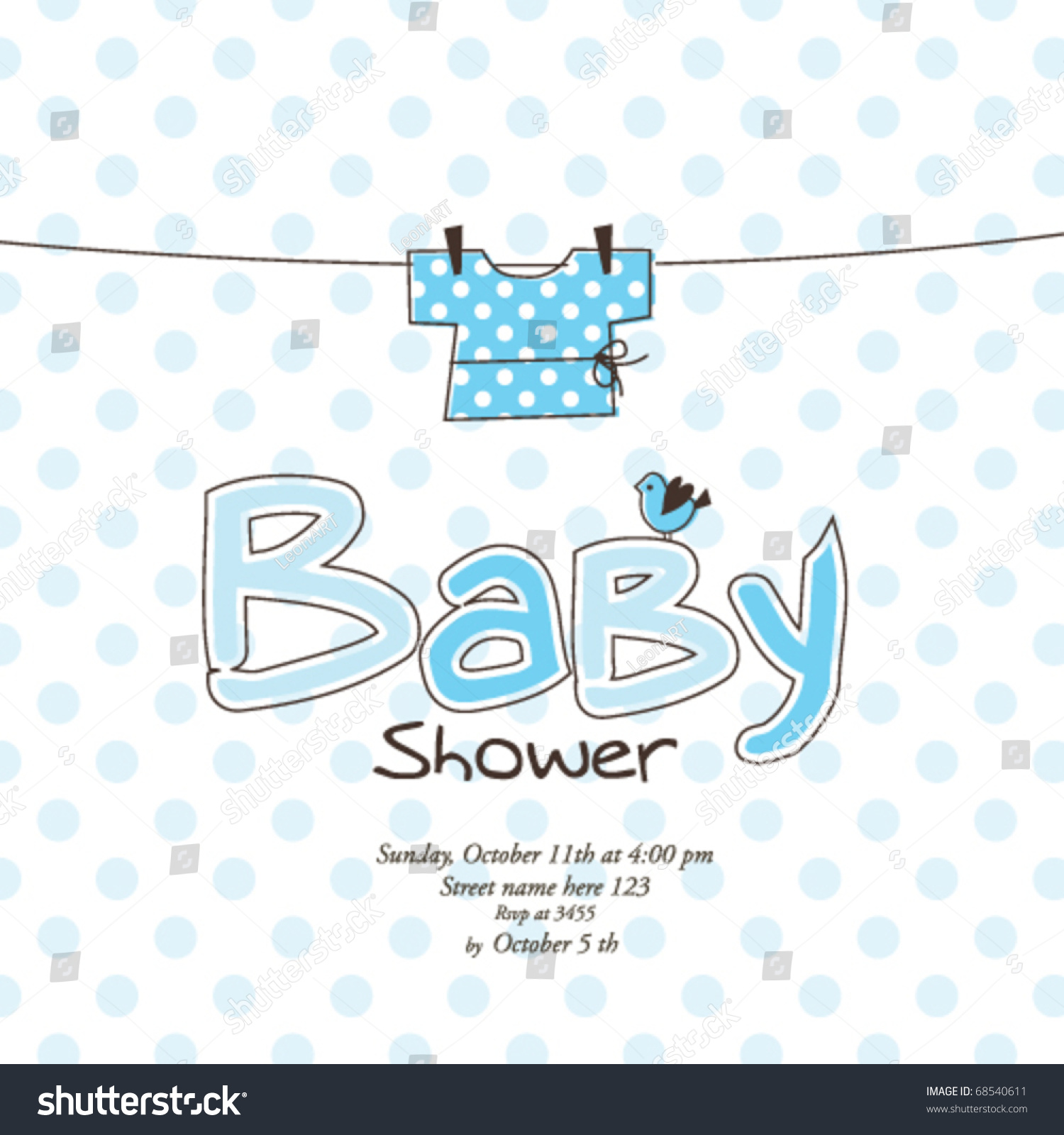 baby shower card template stock vector illustration 68540611
