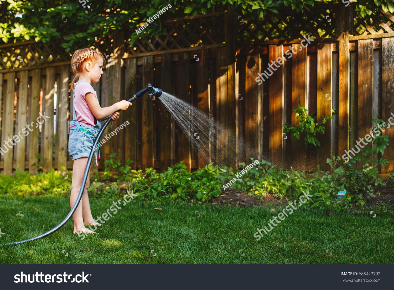 Portrait Girl Watering Plants Vegetables Gardening Stock Photo ...
