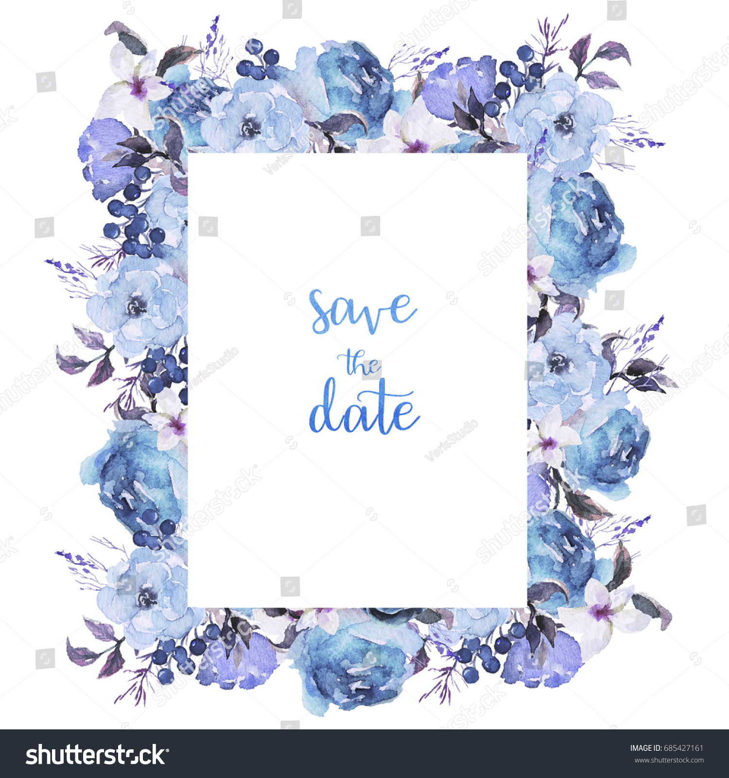 Watercolor Flowers Set. Beautiful Floral Clip Art. Elegant Floral Frame  With Sky Blue Flowers