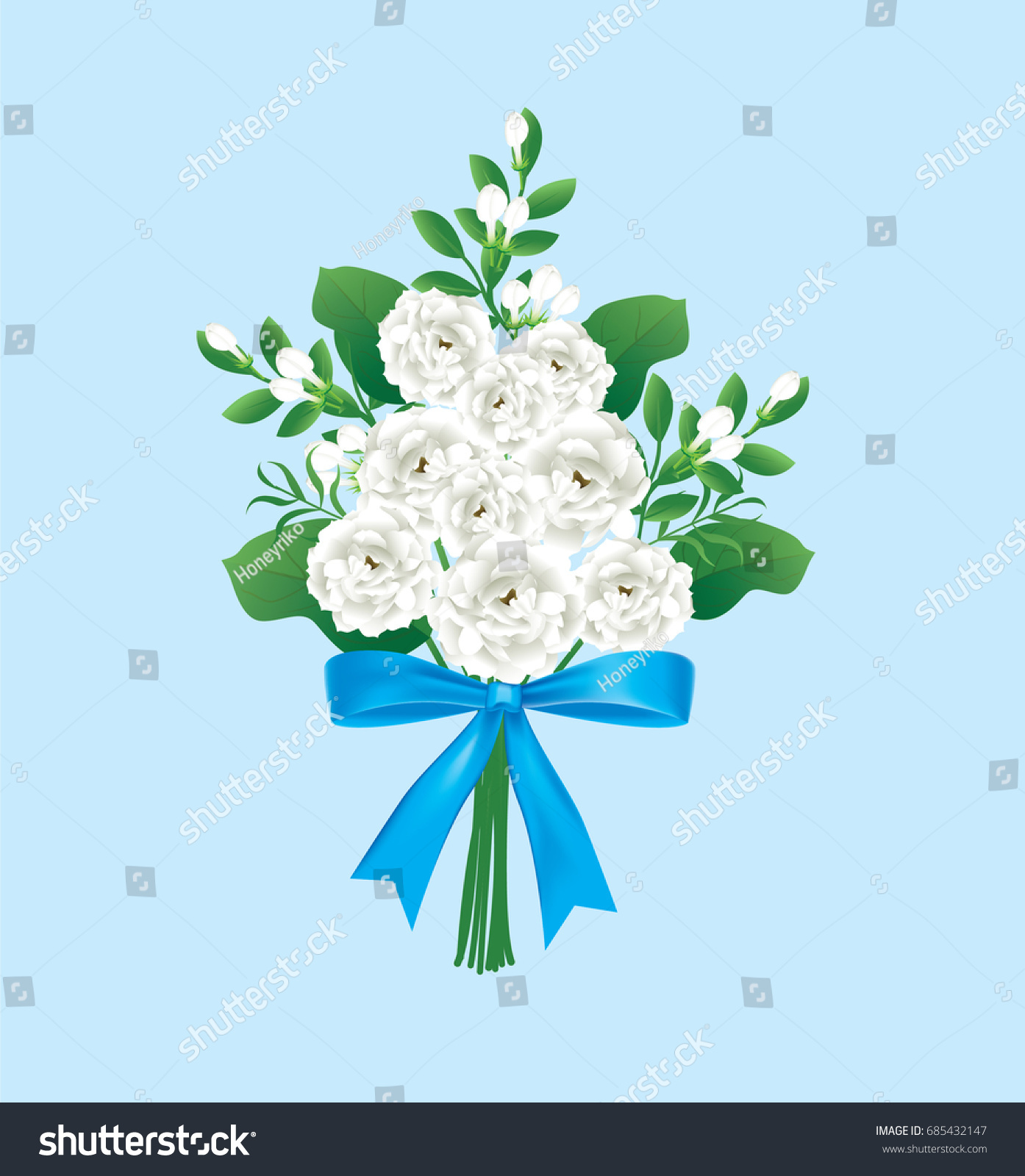 Thai white jasmine flower bouquet blue stock vector 2018 685432147 thai white jasmine flower bouquet with blue ribbon bow on blue backgroundvector illustration izmirmasajfo Image collections
