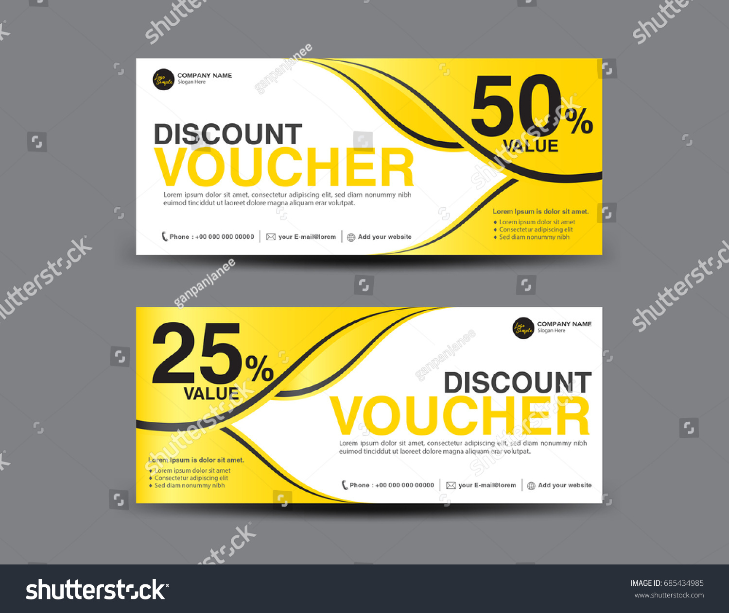 Yellow Gift Voucher Template Layout Business Stock Vector Royalty
