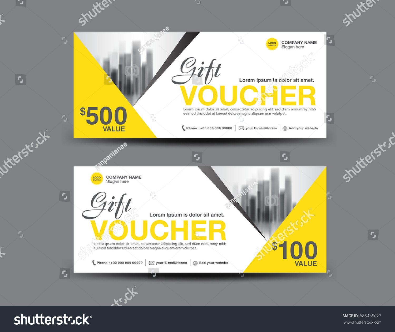 Yellow Gift Voucher Template Layout Business Stock Vector ...