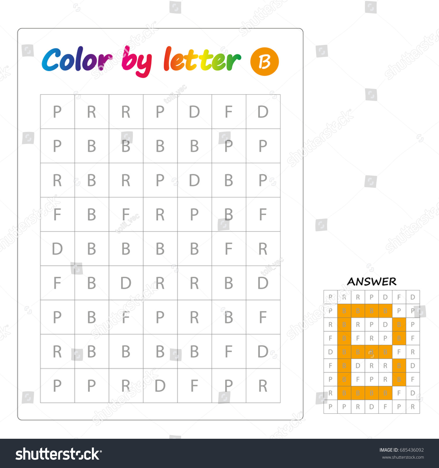 - Worksheet Color By Letters Learning Alphabet Stock Vector (Royalty