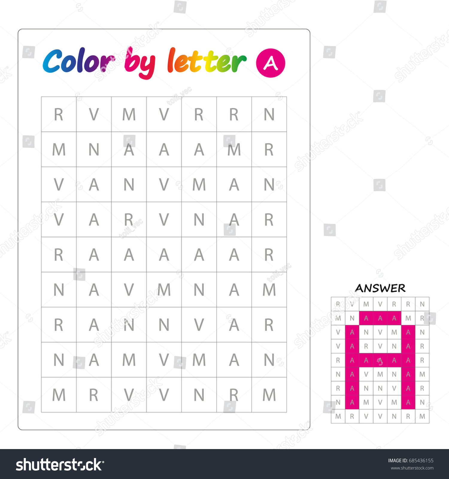 Color By Letters Learning Alphabet Letters Stock Vector Royalty