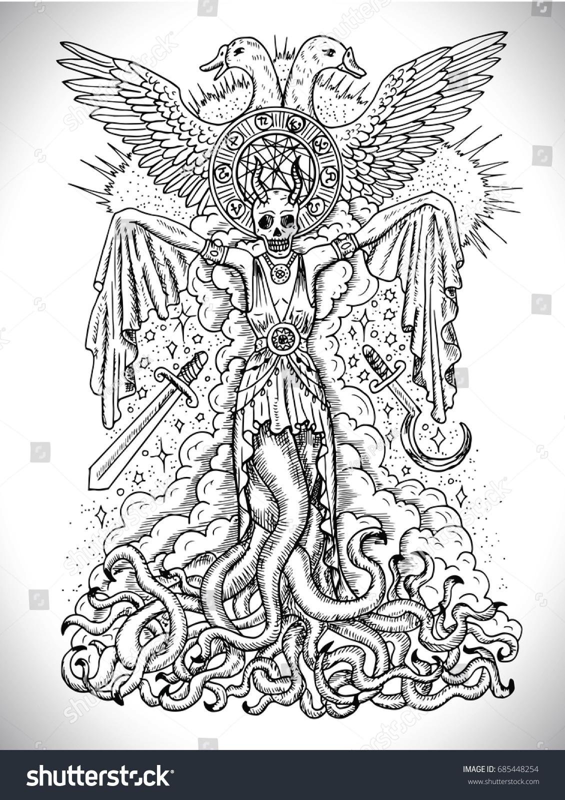 Black White Drawing Evil Goddess Female Stock Vector 685448254