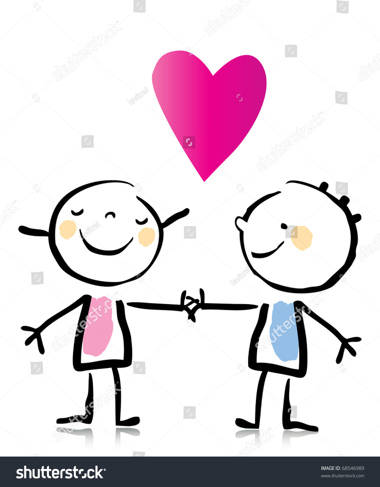 Valentines day two people in love holding hands cartoon childrens drawing style series see