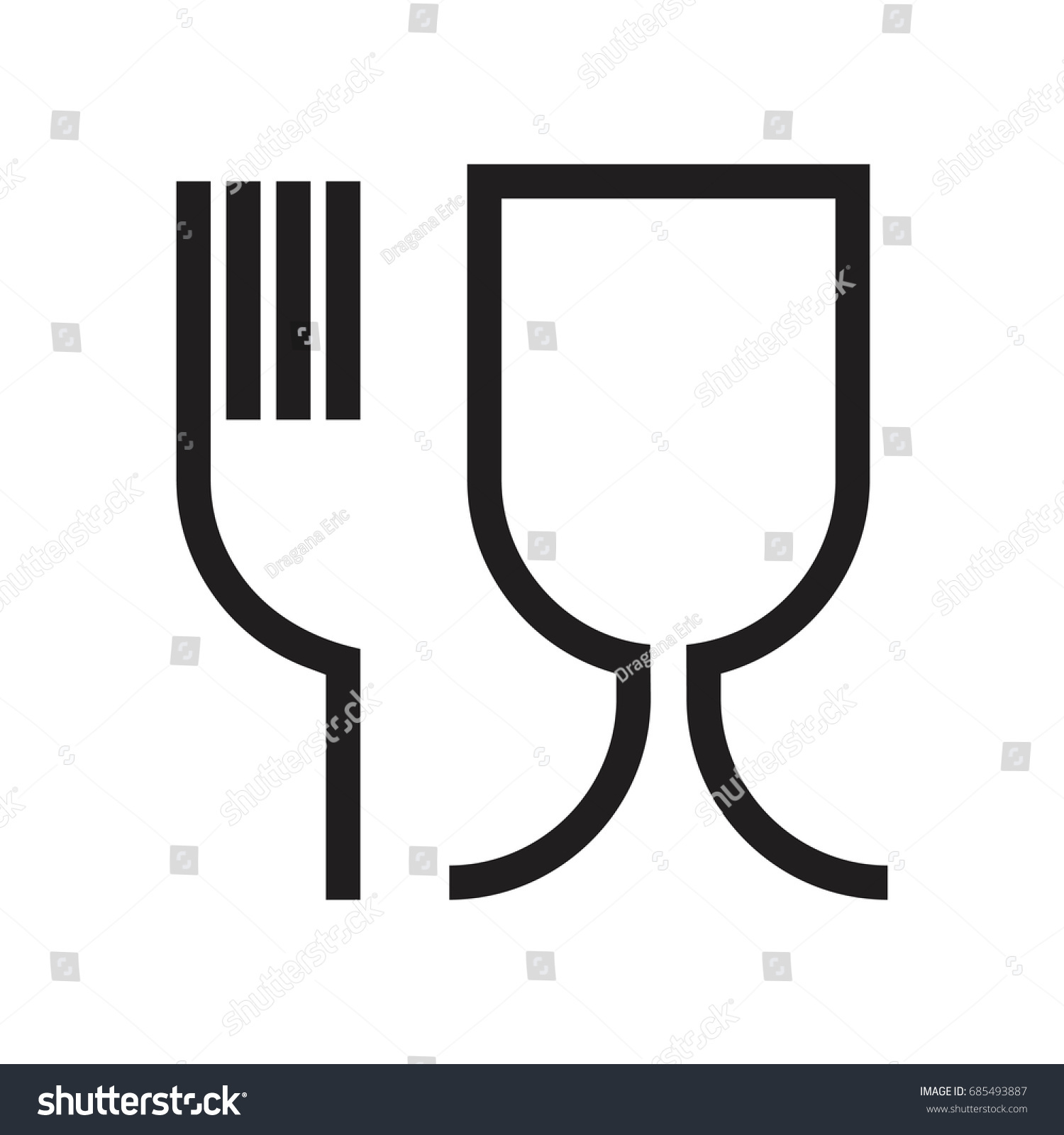 Fork Glass Simple Black Sign Symbol Stock Vector Royalty Free