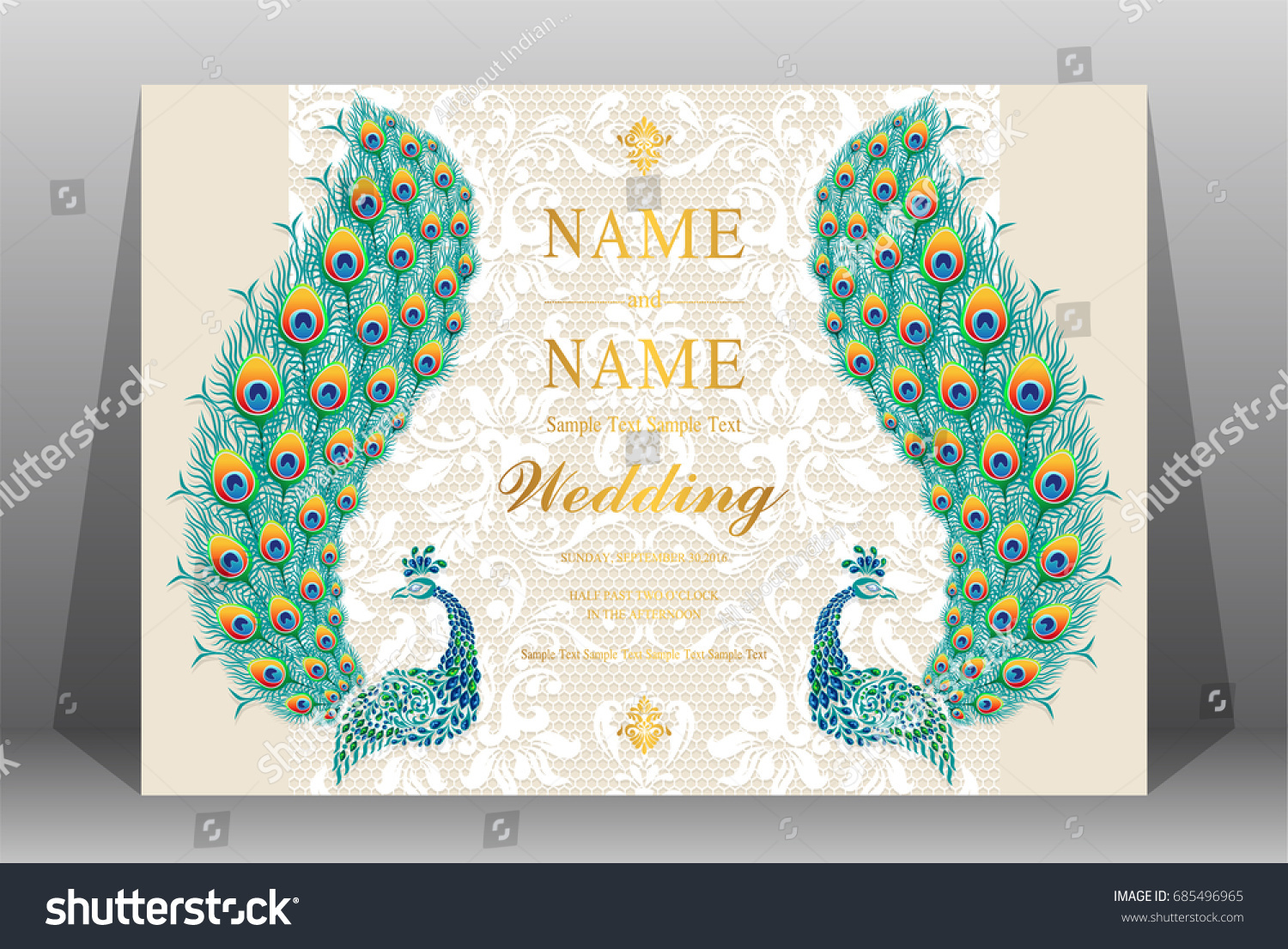 Wedding Invitation Card Templates Peacock Patterned Stock Vector