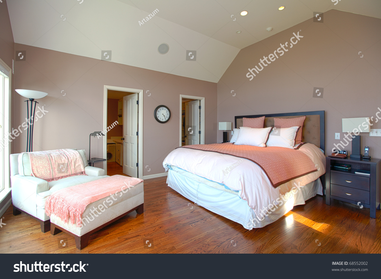 master bedroom modern design pink brown stock photo 68552002