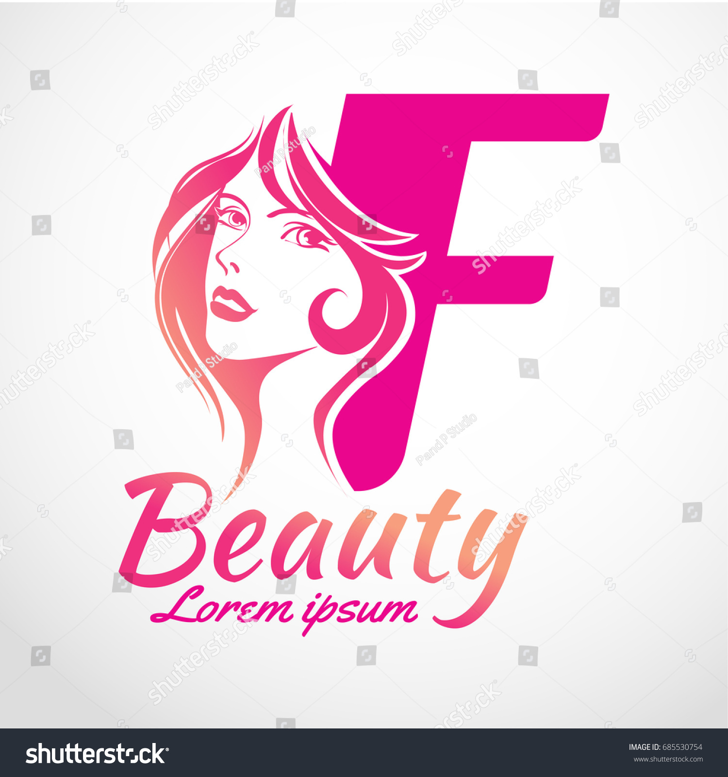 Abstract letter f logo beauty salon stock vector 685530754 for Abstract beauty salon