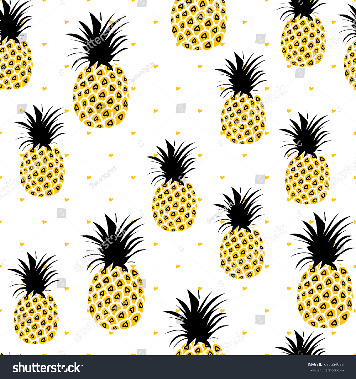 Cute Pineapples Background Yellow Seamless Stock Vector 685554088