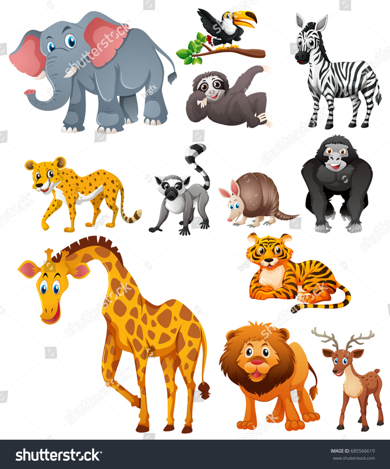 Different Types Wild Animals Illustration Stock Vector (Royalty Free)  685566619