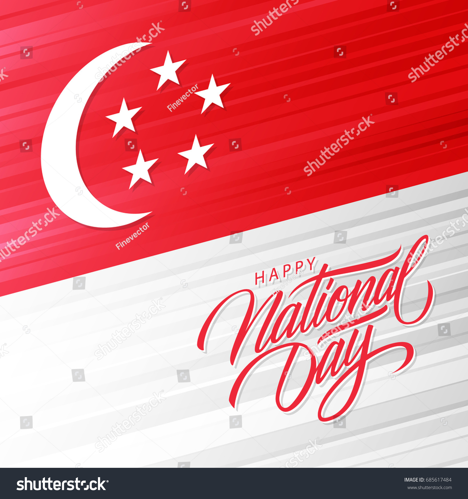 Singapore Happy National Day Greeting Card Stock Vector Royalty