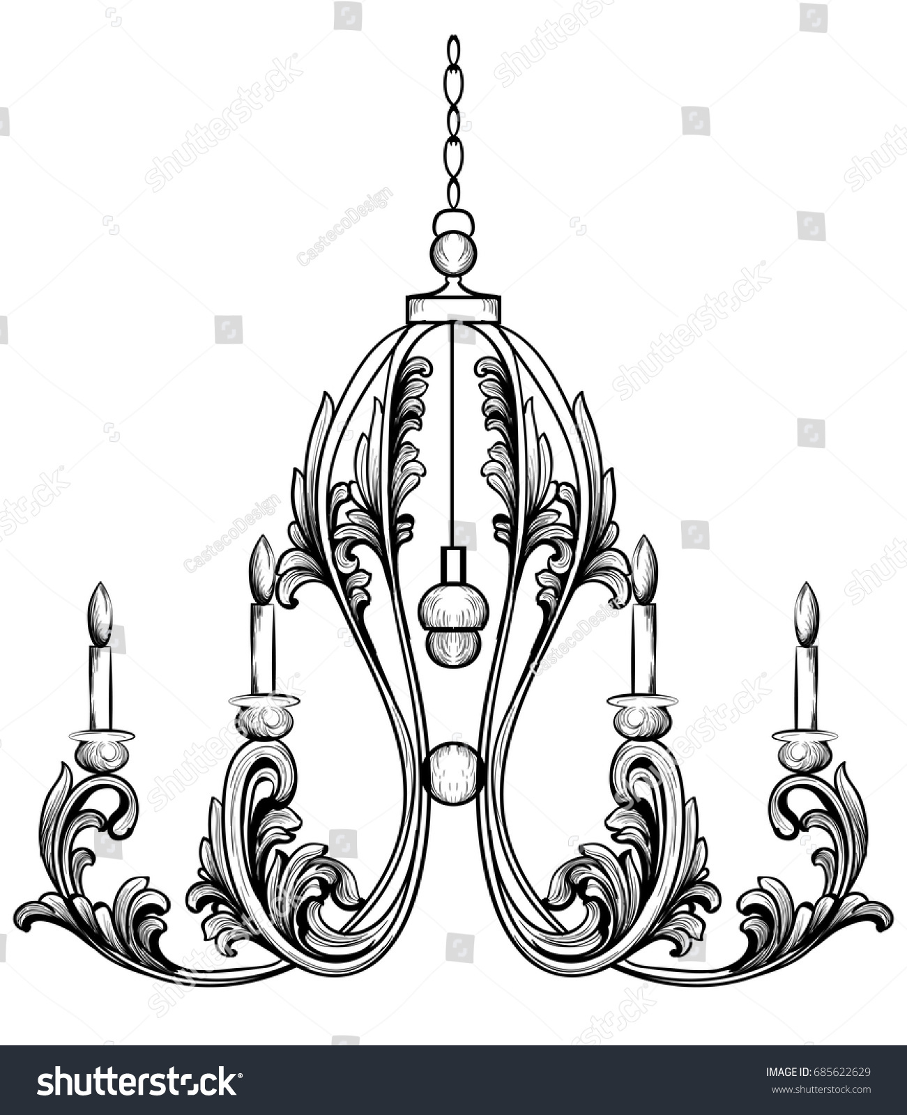 Rich Rococo Classic Chandelier Luxury Decor Stock Vector