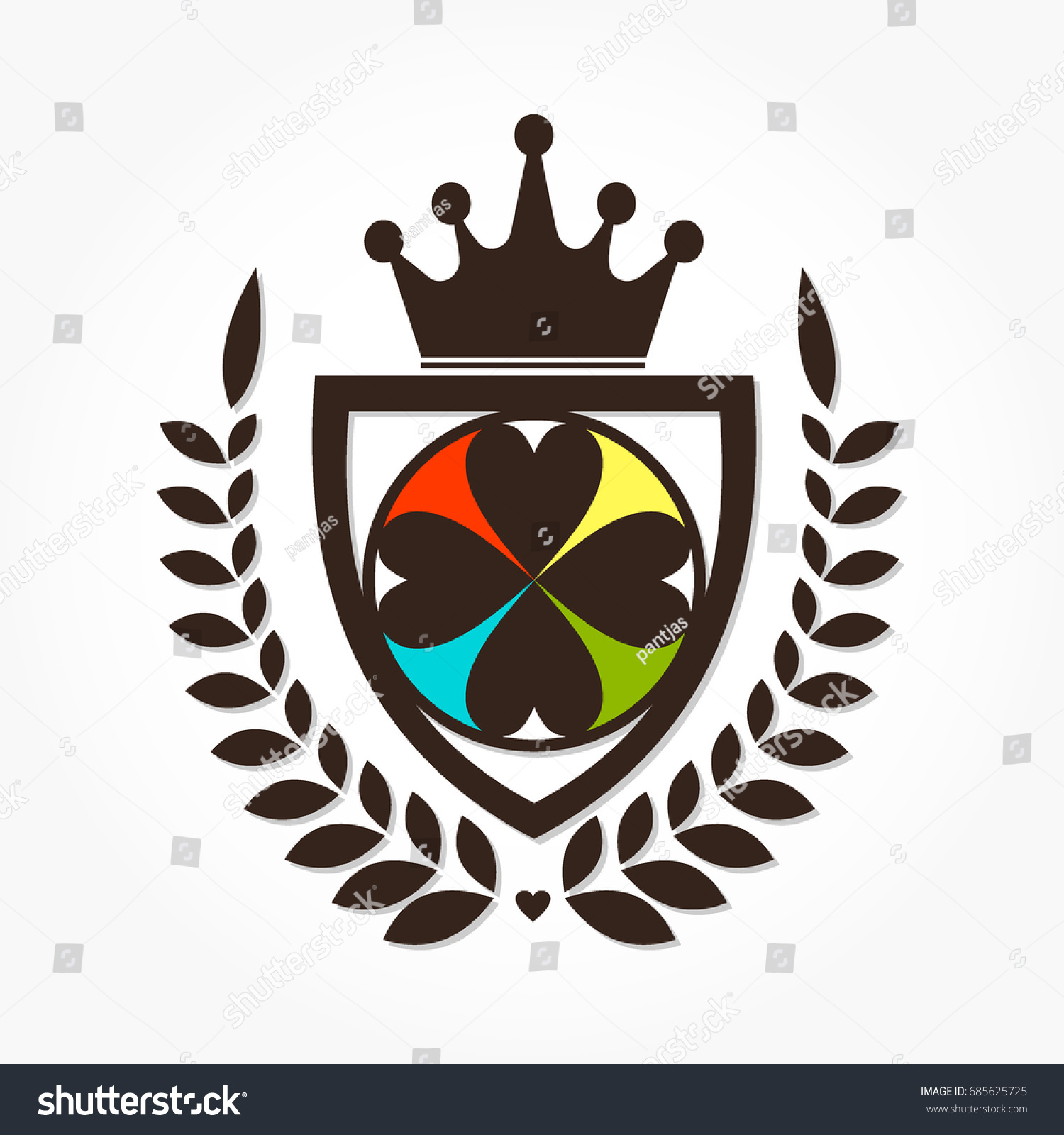Love shapes circle on shield between stock vector 685625725 love shapes in a circle on a shield between wheat grasses with a crown above with buycottarizona