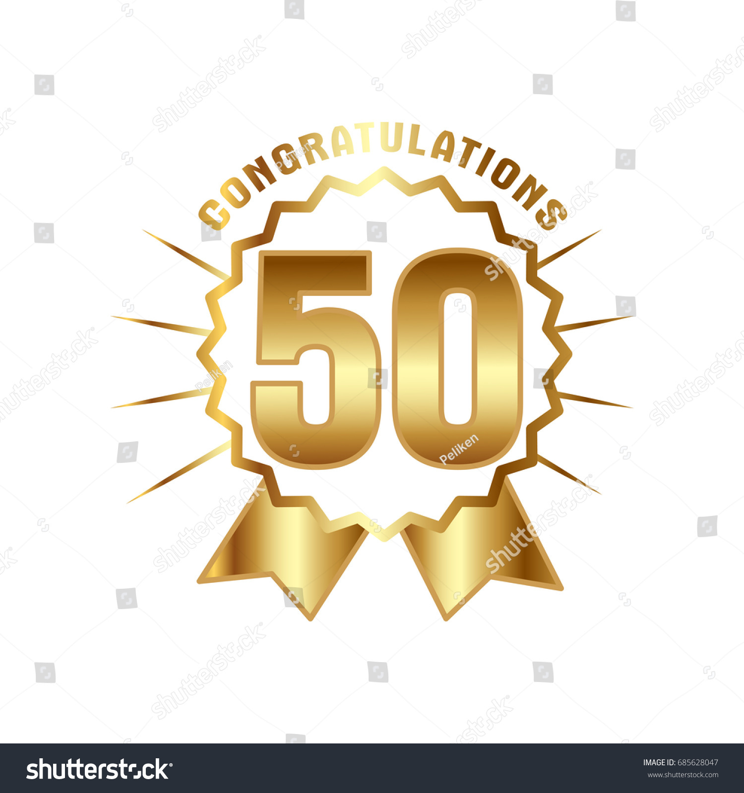 Anniversary golden fifty years number 50th stock vector 685628047 anniversary golden fifty years number 50th years festive logo and greeting with sunburst for invitation kristyandbryce Choice Image