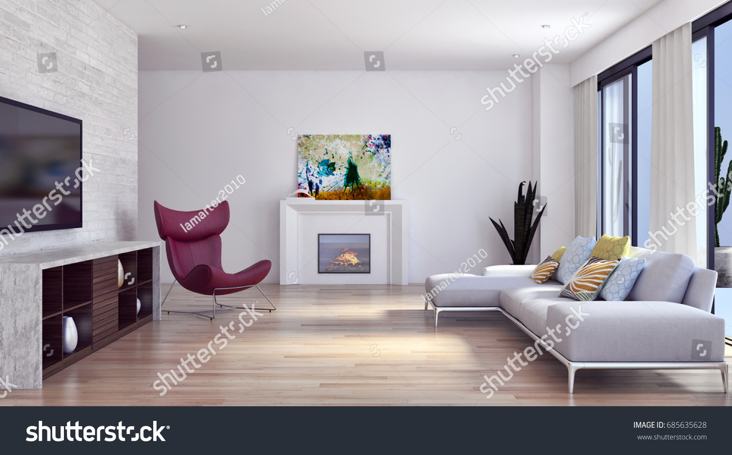 Modern Bright Living Room. Modern Bright Living Room With Exposed ...