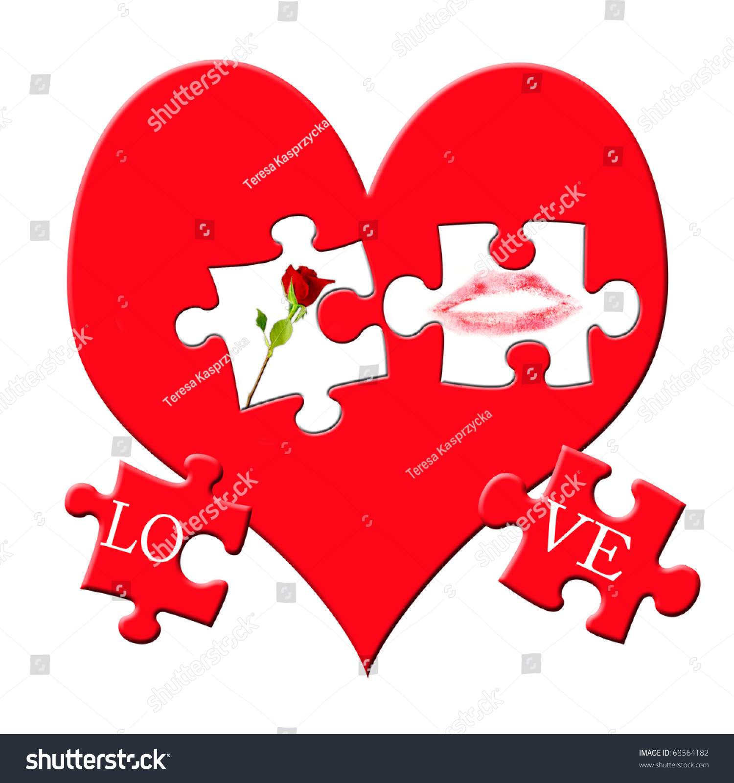 Valentines puzzle love symbols on big stock illustration 68564182 valentines puzzle with love symbols on big red heart isolated on white buycottarizona Gallery