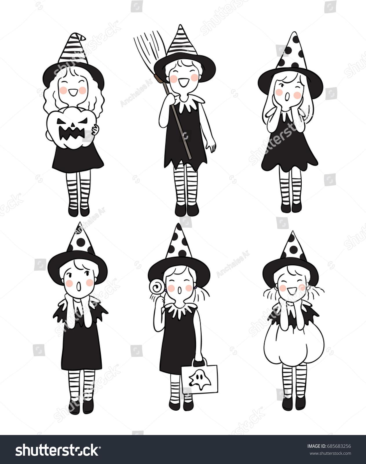 Vector Illustration Character Design Cute Girl Stock Vector Royalty