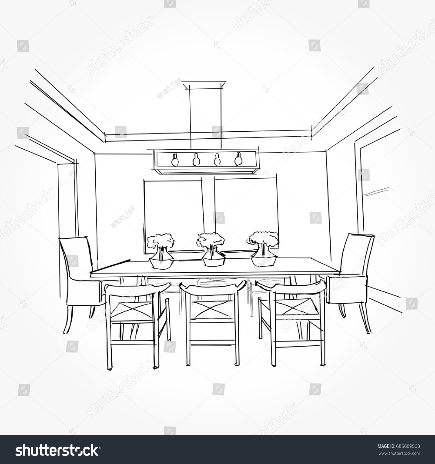 Linear Sketch Interior Sketch Line Dining Stock Vector