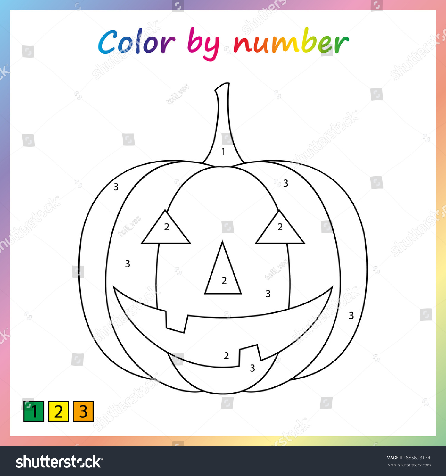 Halloween Pumpkin Painting Page Color By Stock Vector 685693174 ...