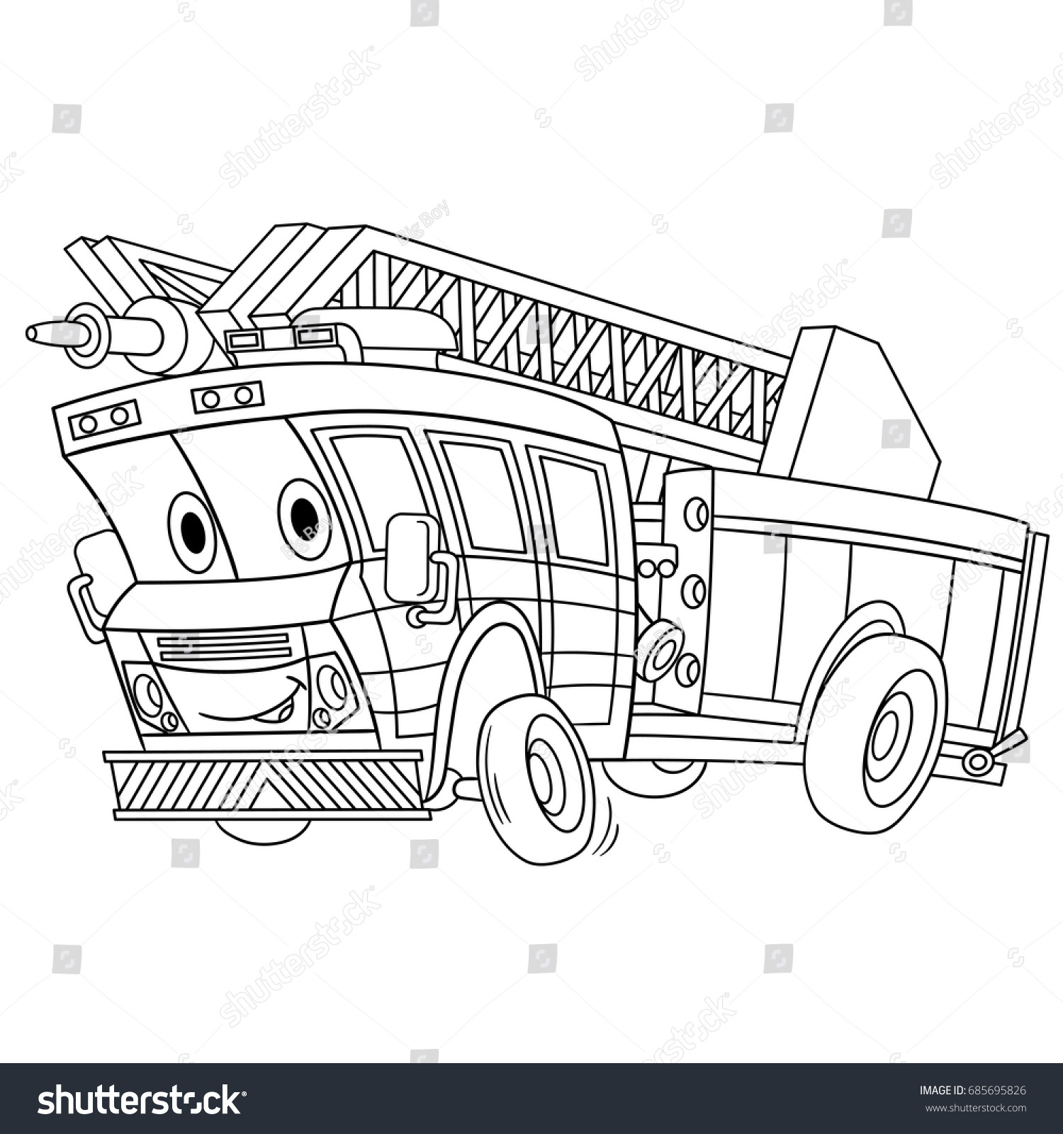 Coloring Page Cartoon Fire Truck Emergency Stock Vector (Royalty ...
