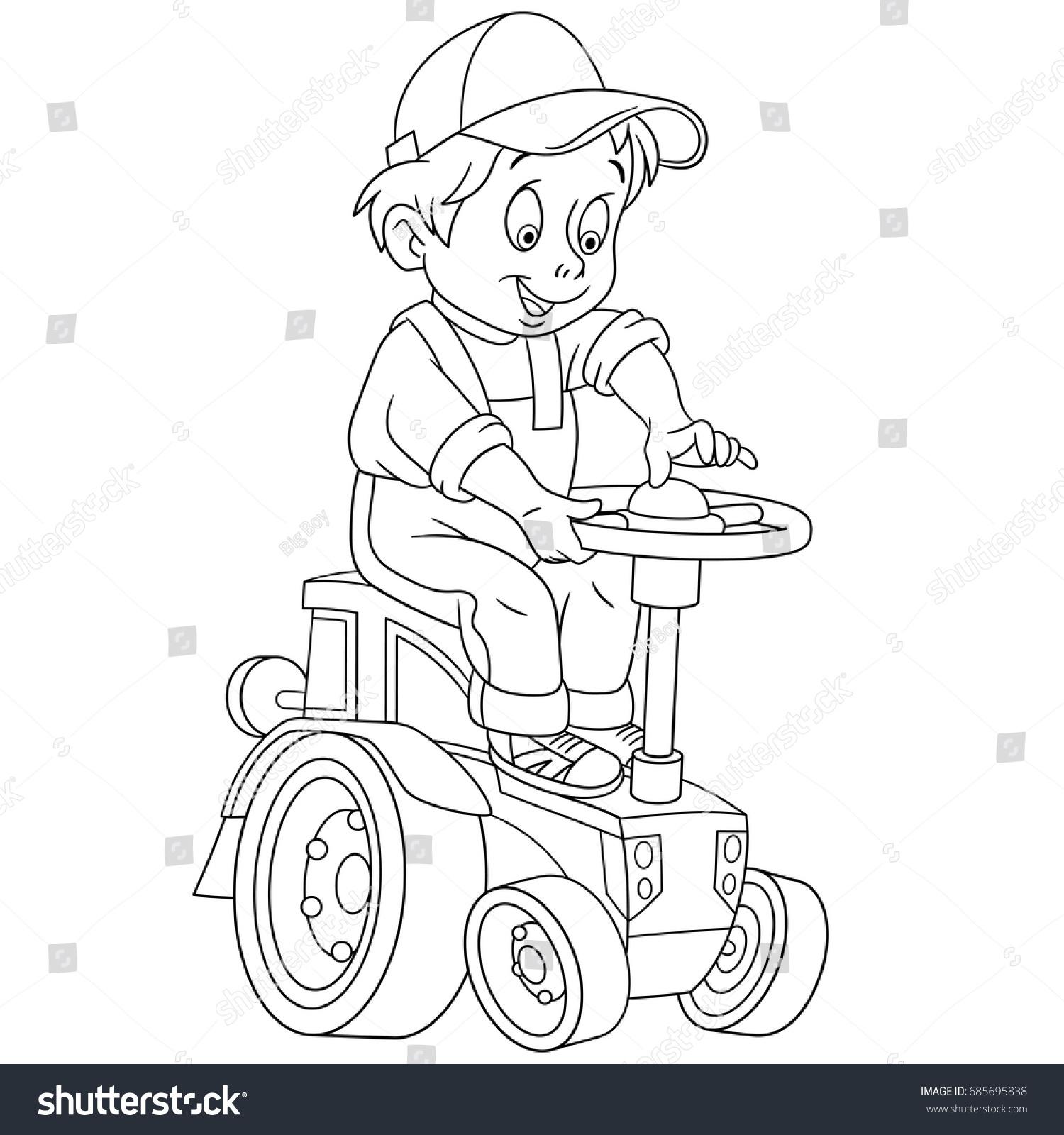 Coloring Page Cartoon Boy Driving Tractor Stock Vector 685695838 ...