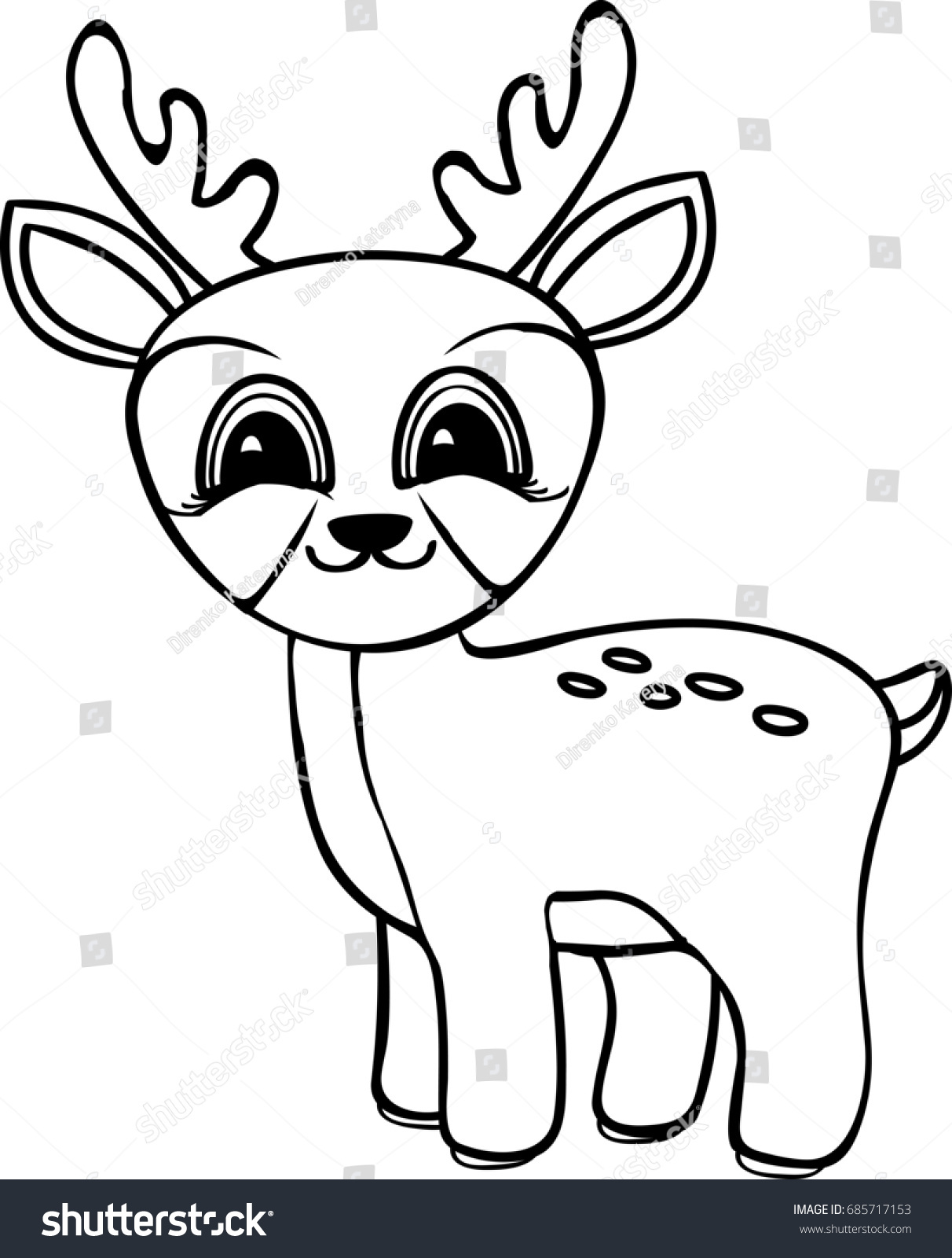 Funny Cartoon Baby Deer Coloring Pages Stock Illustration 685717153 ...