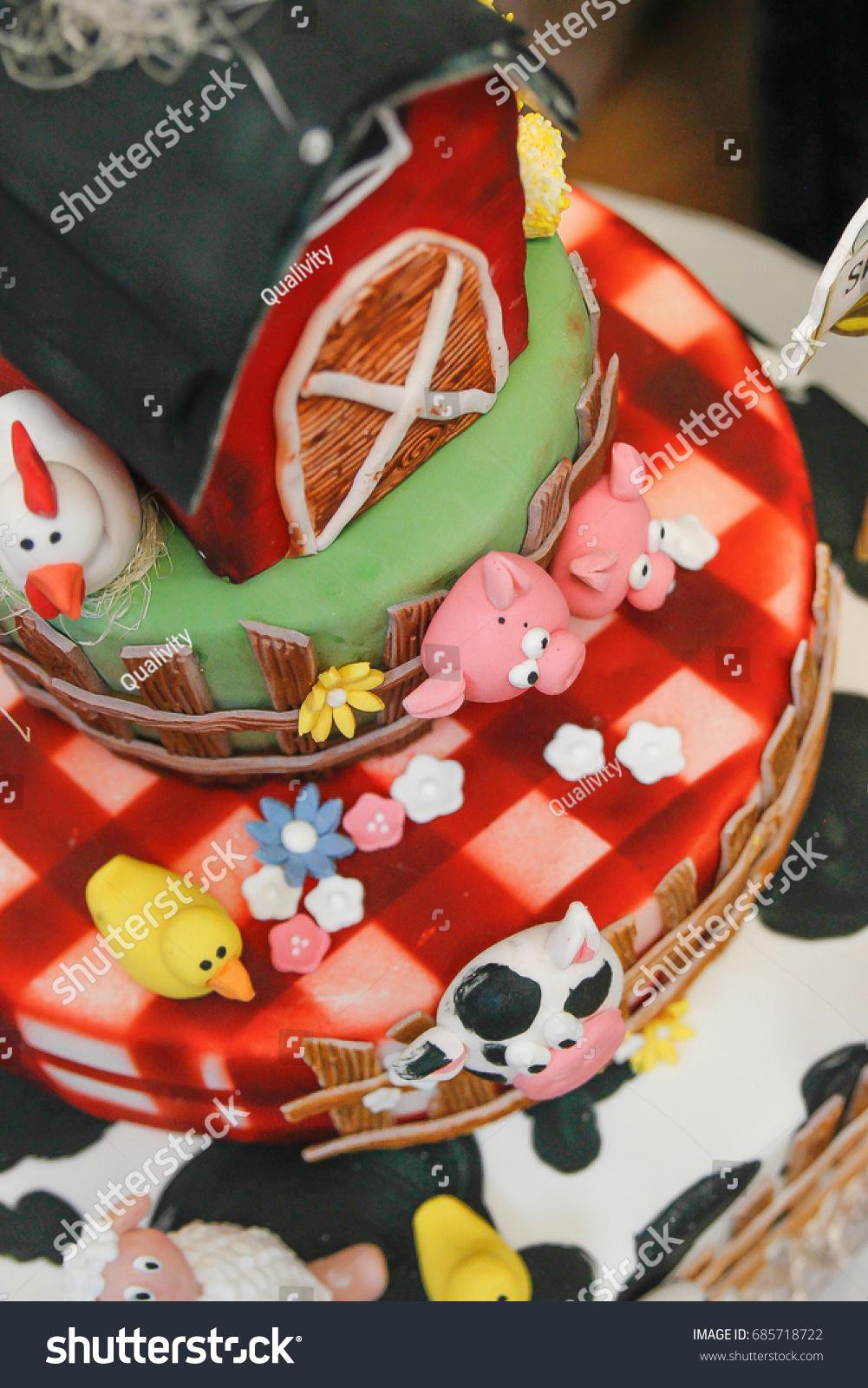 Farm Themed Kids Birthday Cake Animals Stock Photo Edit Now