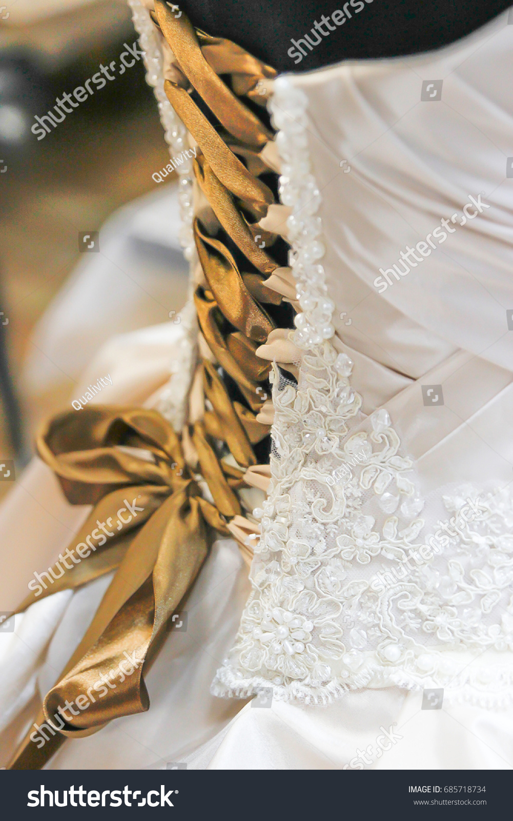 White Wedding Dress Back Gold Ribbon Stock Photo Edit Now 685718734,Wedding Dress Shops Austin Tx