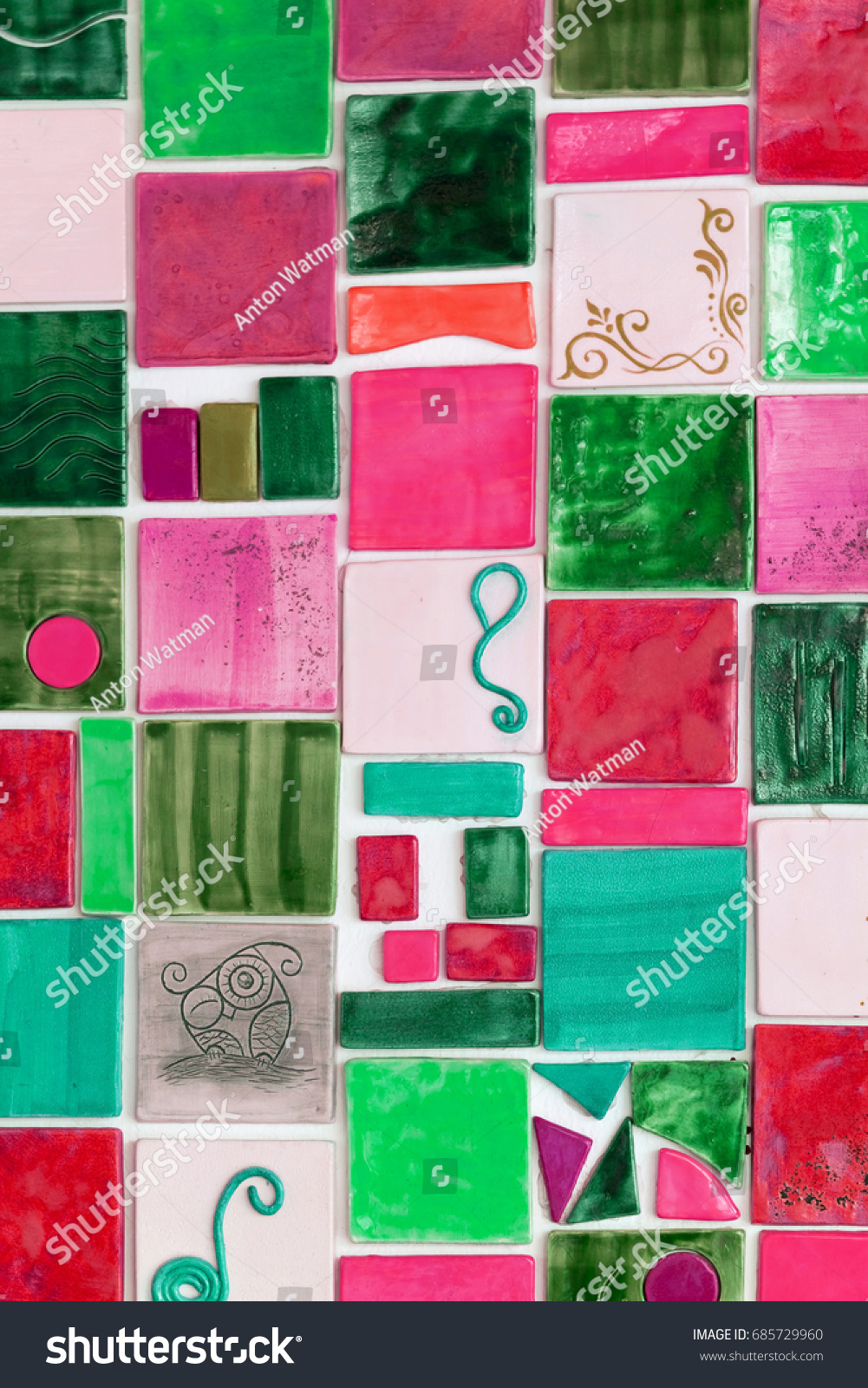 Green pink ceramic tile background stock photo 685729960 green and pink ceramic tile background doublecrazyfo Images