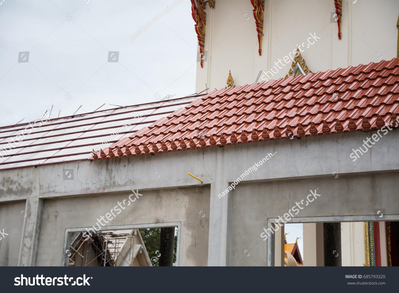 Thai Architecture Temple Building Roof Design Buildings Landmarks Stock Image 685793320