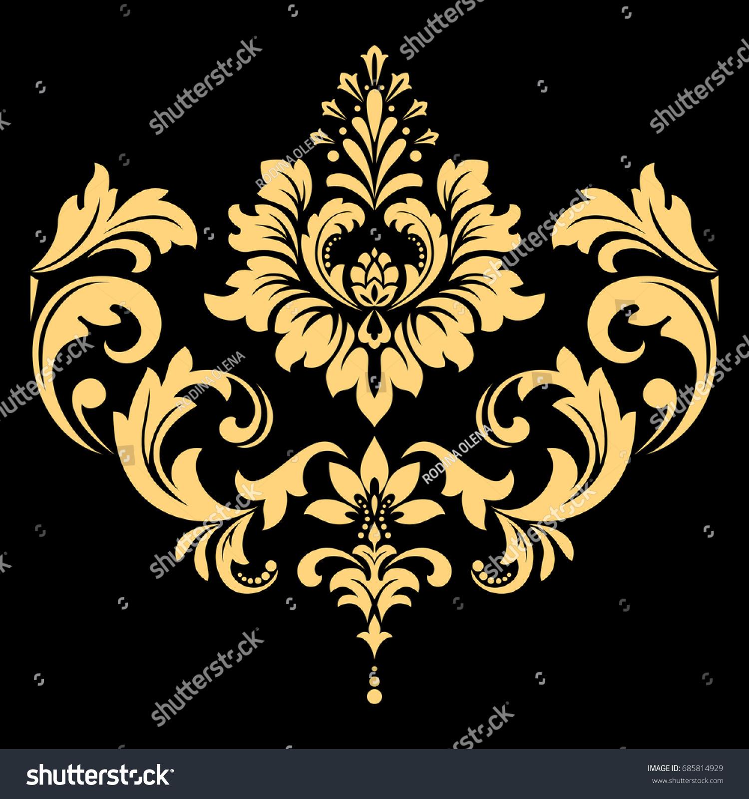 Golden Pattern On Black Background Damask Stock Illustration 685814929