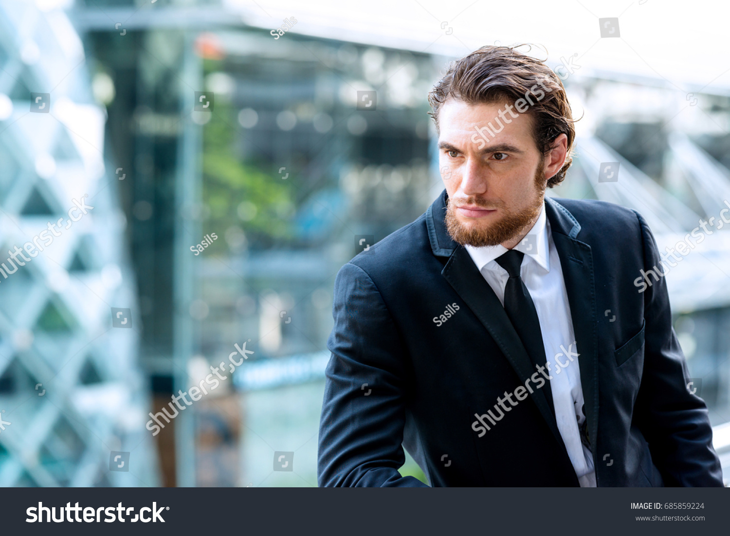 Confident Young Business Man Black Tie Stock Photo (Royalty Free ...