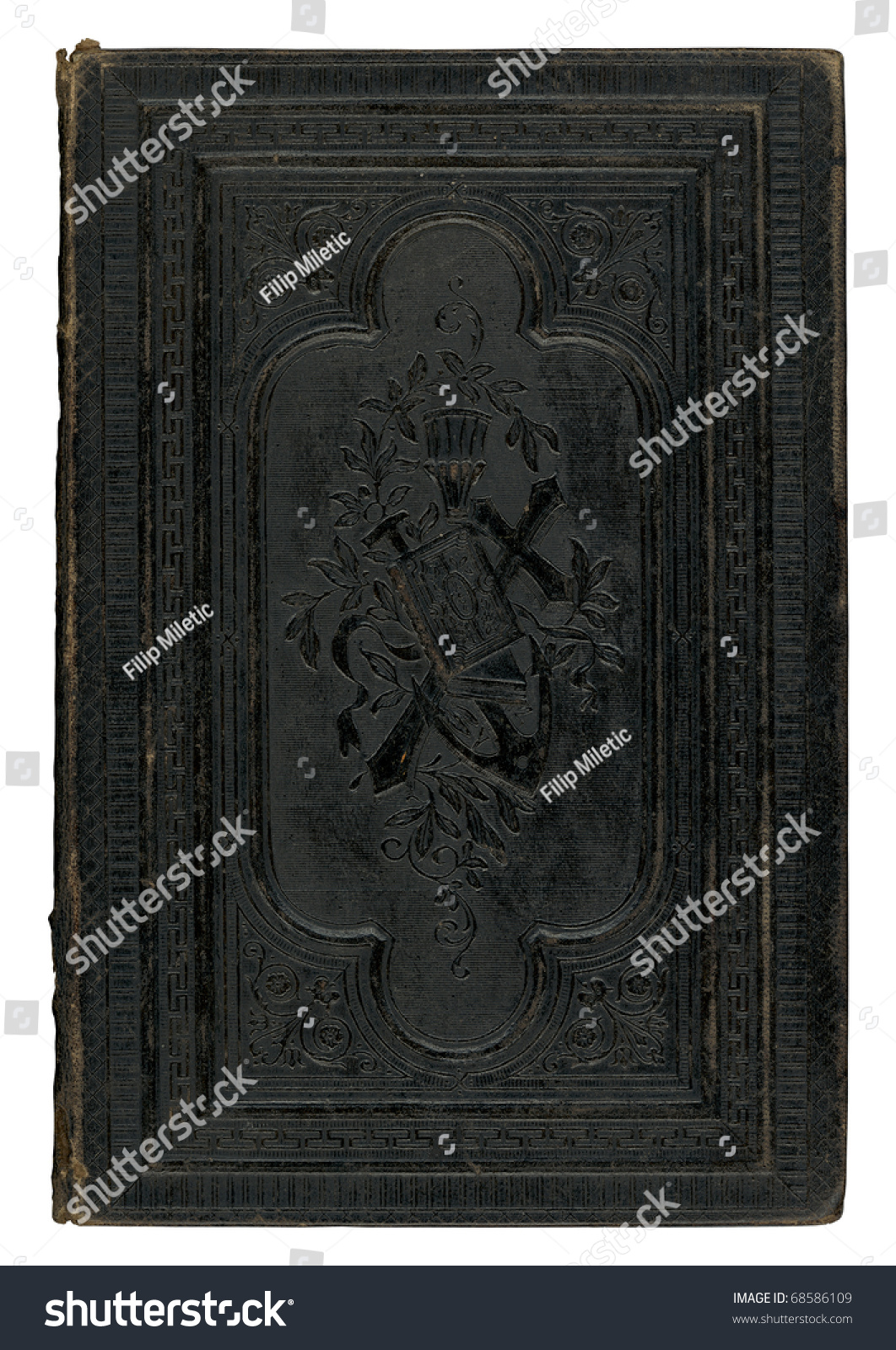 Black Leather Book Cover : Vintage black leather book cover isolated on white