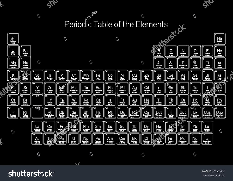 Periodic table mendeleev elements black white stock vector periodic table mendeleev of the elements black and white gamestrikefo Gallery