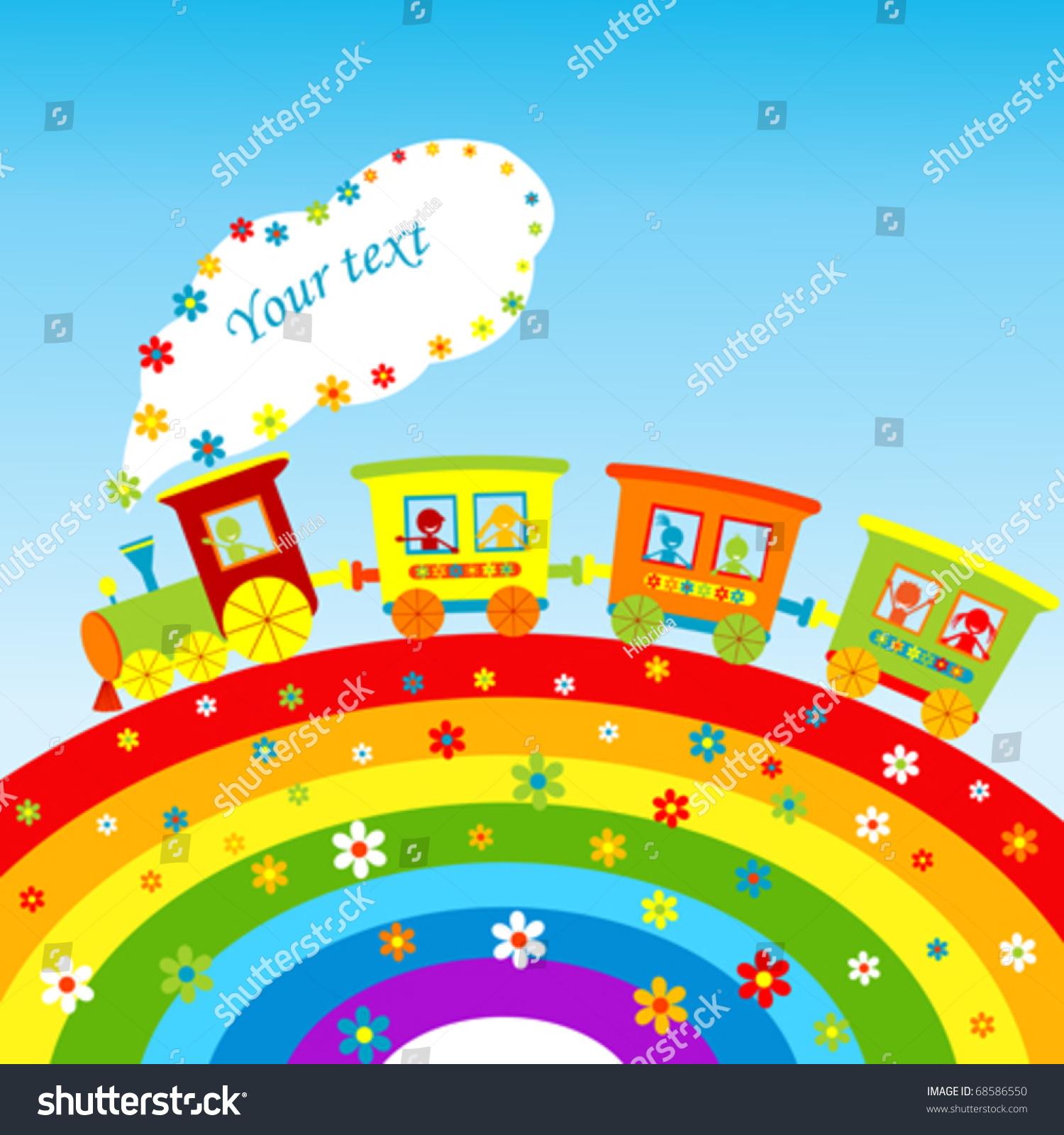 illustration cartoon train rainbow place your stock vector