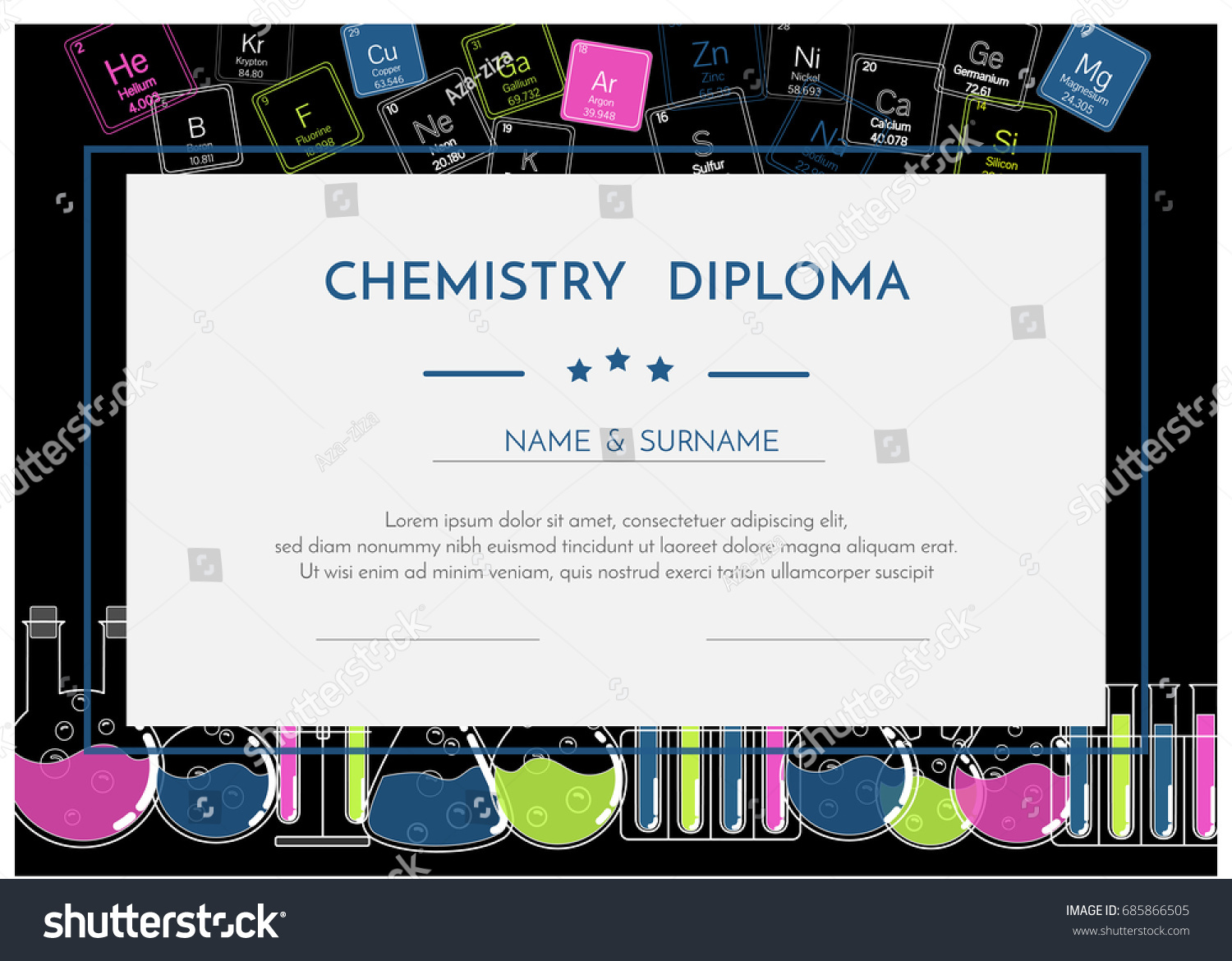 chemistry diploma certificate periodic system elements stock  chemistry diploma certificate periodic system elements stock vector 685866505 shutterstock