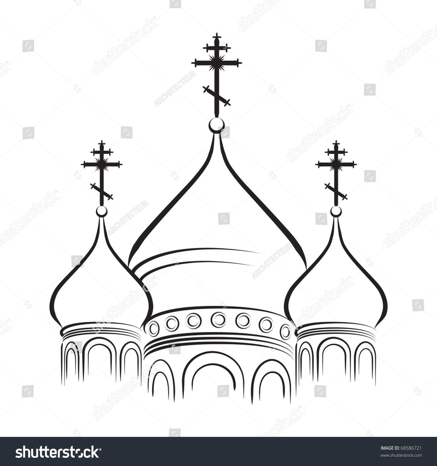The Bulbous (onion-shaped) Domes of Orthodox Cathedral Temple. Outline ...