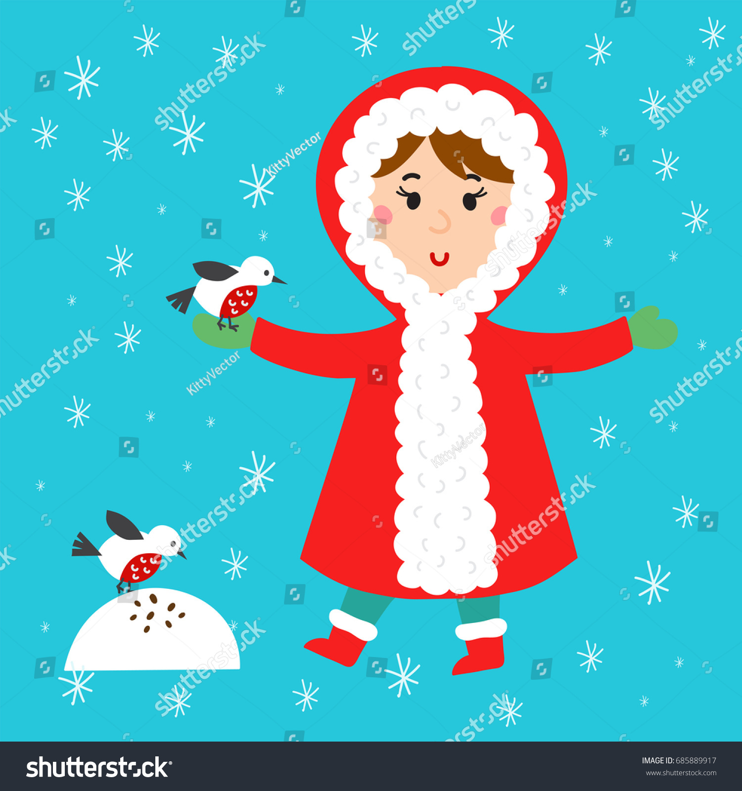 Christmas Kid Playing Winter Games Children Stock Vector (Royalty ...