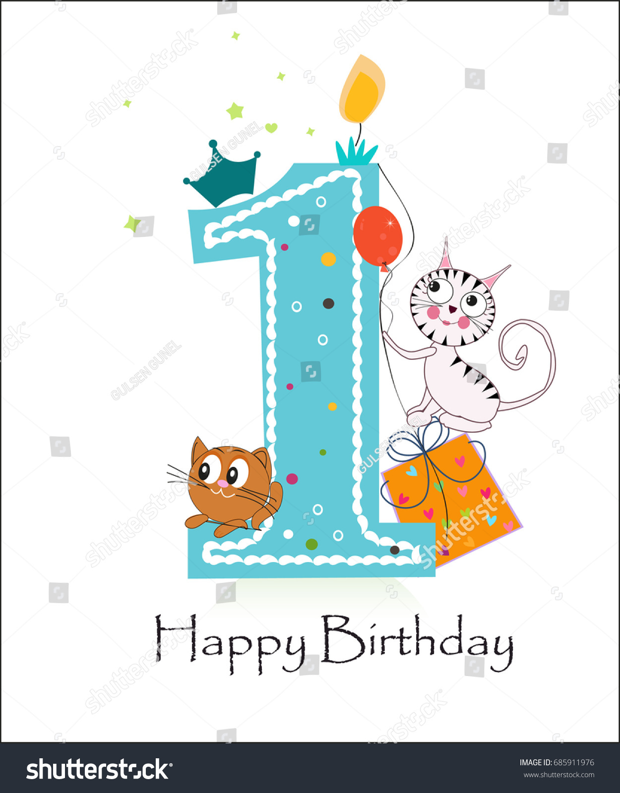Happy First Birthday Cute Cats Baby Stock Vector Royalty Free