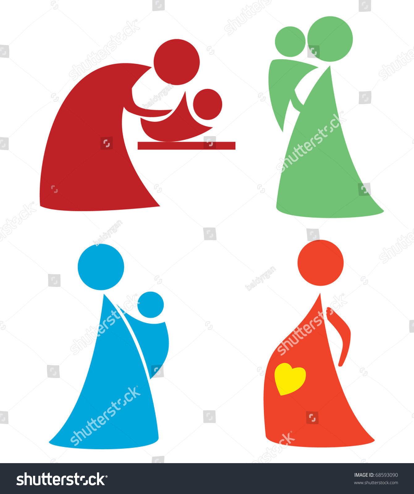 Mother Child Set Simple Icons Symbols Stock Vector Royalty Free