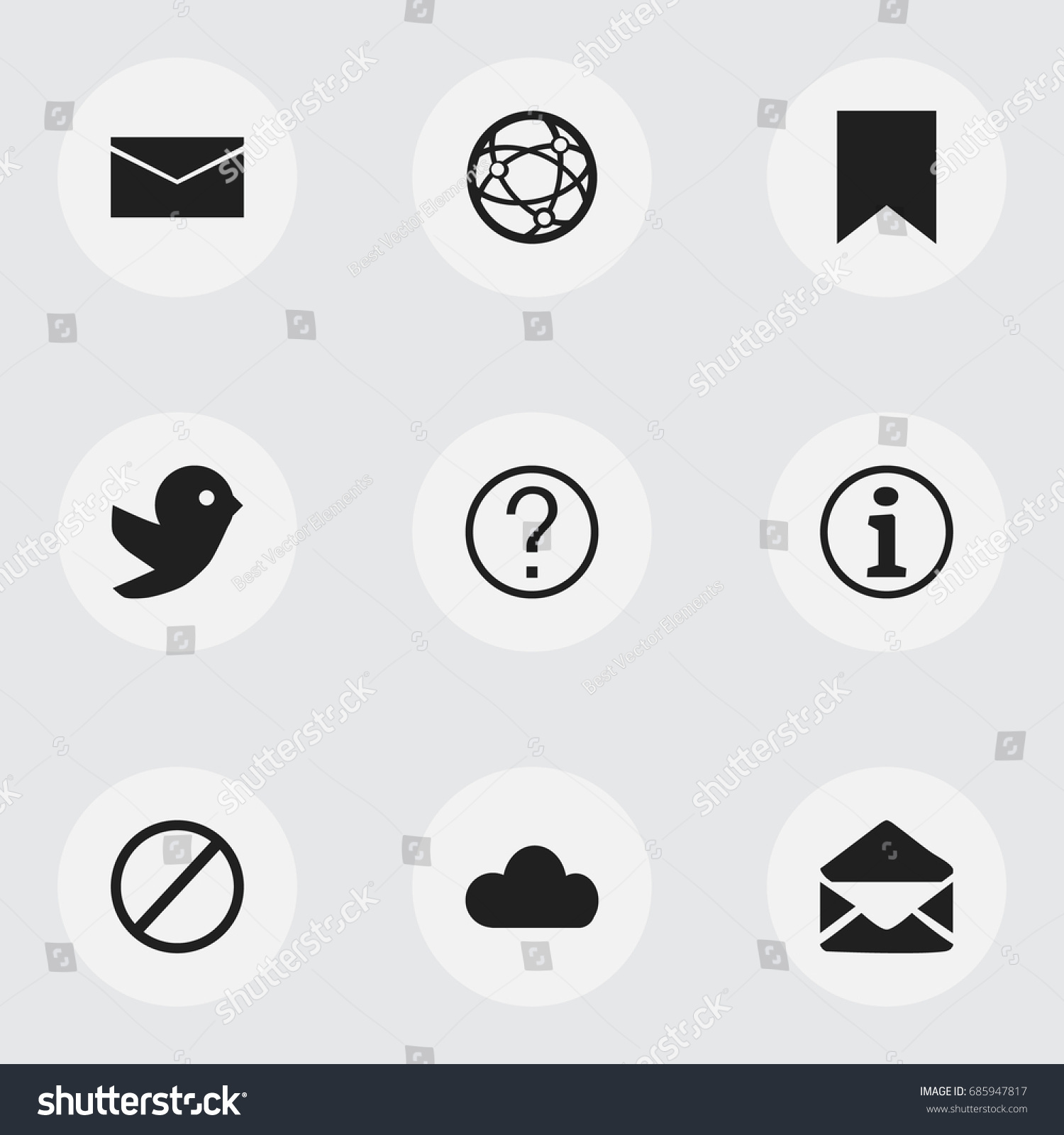 Set 9 editable internet icons includes stock vector 685947817 set of 9 editable internet icons includes symbols such as letter mail network biocorpaavc