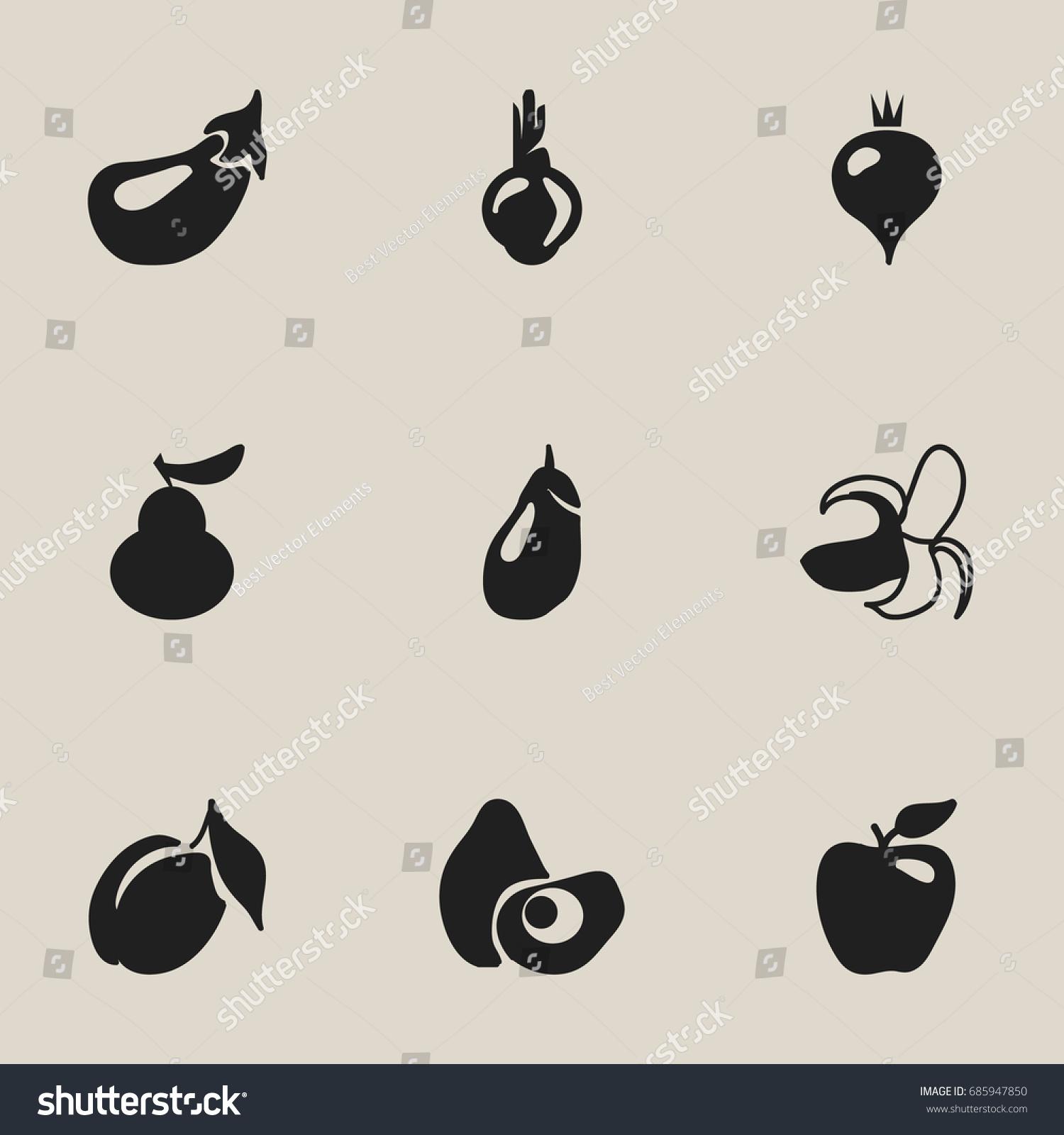 Set 9 editable fruits icons includes stock vector 685947850 includes symbols such as aubergine banana honeycrisp biocorpaavc