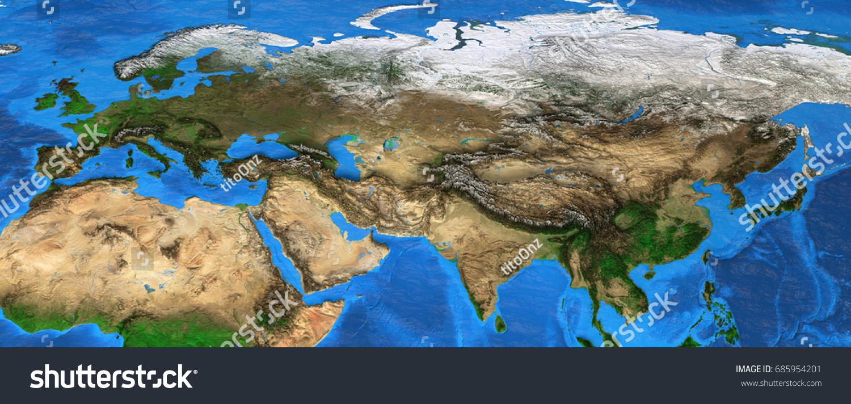 Map Eurasia Detailed Satellite View Earth Stock Illustration